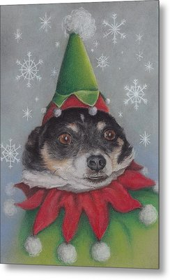 A Furry Christmas Elf Metal Print by Pamela Humbargar