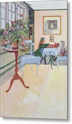 A Game Of Chess Metal Print by Carl Larsson