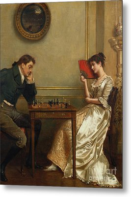 A Game Of Chess Metal Print by George Goodwin Kilburne