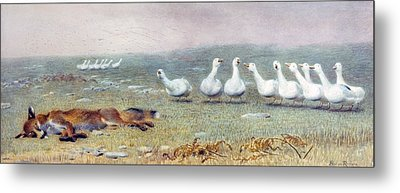 A Game Of Fox And Geese, 1868 Metal Print