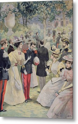 A Garden Party At The Elysee Metal Print by Fortune Louis Meaulle
