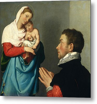 A Gentleman In Adoration Before The Madonna Metal Print by Giovanni Battista Moroni