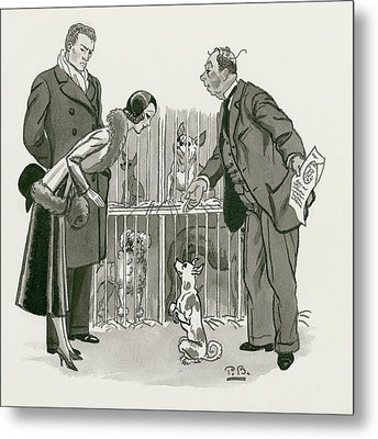 A Gentleman Selling Dogs Metal Print by Pierre Brissaud