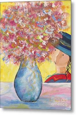 Metal Print featuring the painting A Girl And Her Flower Vase. by Nereida Rodriguez