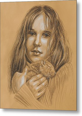 A Girl With The Pet Metal Print