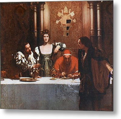 A Glass Of Wine With Caesar Borgia Metal Print by Philip Ralley