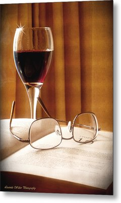 Metal Print featuring the photograph A Good Book And A Glass Of Wine by Lucinda Walter