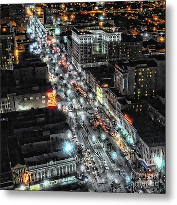 A Gothic Night In New Orleans On Canal Street Metal Print