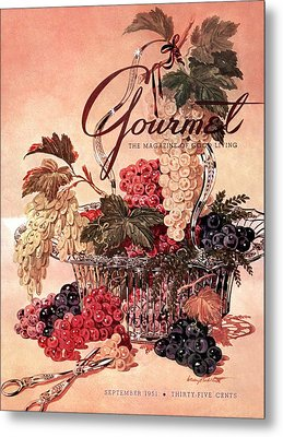 A Gourmet Cover Of Grapes Metal Print