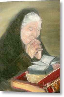 A Grandmother's Prayer Metal Print by Helena Bebirian
