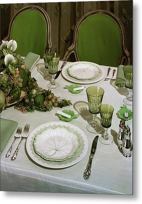 A Green Table Setting Metal Print by Wiliam Grigsby