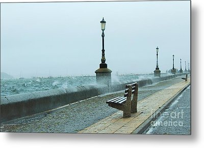 A Grey Wet Day By The Sea Metal Print