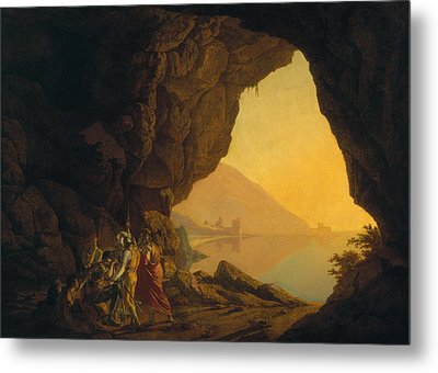 A Grotto In The Kingdom Of Naples, With Banditti, Exh. 1778 Metal Print by Joseph Wright of Derby