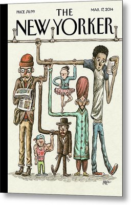 A Group Of Commuters Rest On Eachother Metal Print by Ricardo Liniers