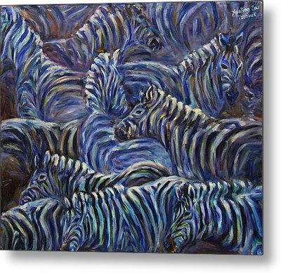 Metal Print featuring the painting A Group Of Zebras by Xueling Zou