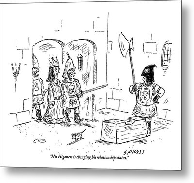 A Guard Leading A Queen Speaks To An Executioner Metal Print by David Sipress