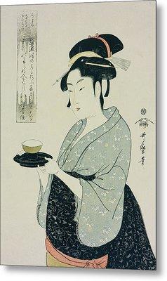 A Half Length Portrait Of Naniwaya Okita Metal Print