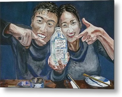 Metal Print featuring the painting A Happy Birthday by Anna Ruzsan