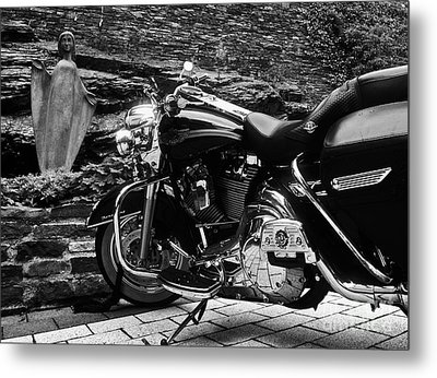 A Harley Davidson And The Virgin Mary Metal Print by Andy Prendy