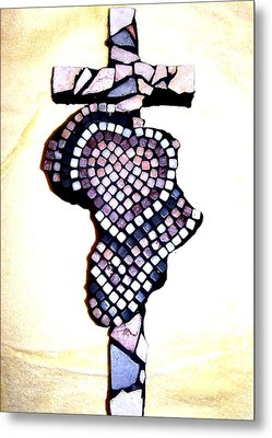 A Heart For Africa Cross Metal Print