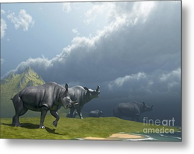 A Herd Of Brontotherium Dinosaurs Come Metal Print by Corey Ford