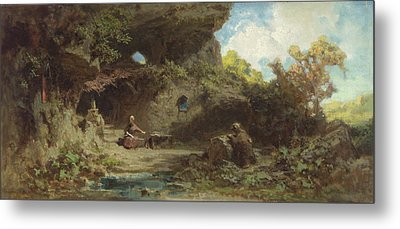 A Hermit In The Mountains Metal Print by Carl Spitzweg