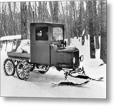 A Homemade Snowmobile Metal Print by Underwood Archives