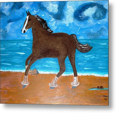 A Horse On The Beach Metal Print by Magdalena Frohnsdorff
