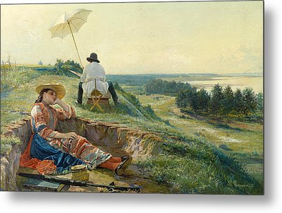 A Hot Summer Day. The Artist At Work Metal Print by Vasili Andreyevich Golynsky