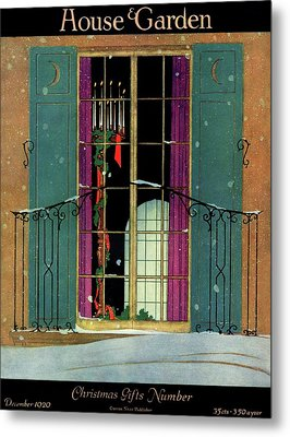 A House And Garden Cover Of A Christmas Metal Print by Harry Richardson