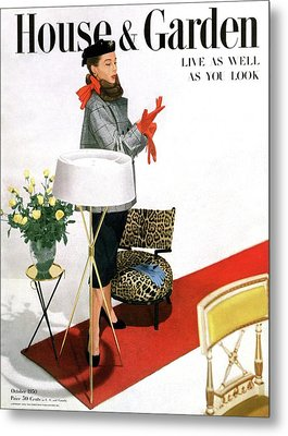 A House And Garden Cover Of A Woman With A Lamp Metal Print by Horst P. Horst
