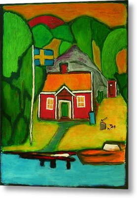 Metal Print featuring the painting A House In Sweden by Zeke Nord