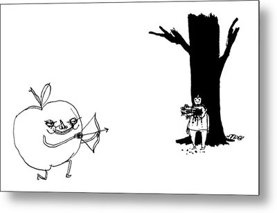 A Huge Apple Creature With A Bow And Arrow Shoots Metal Print