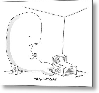 A Huge Whale Reads His Child Also A Whale Moby Metal Print
