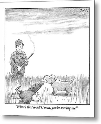A Hunting Dog Addresses His Master Who Looks Metal Print