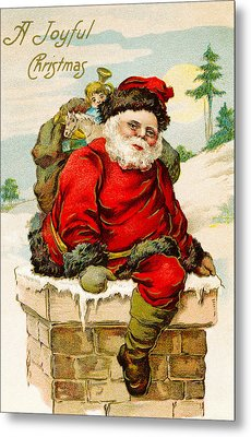 A Joyful Christmas Metal Print by Vintage Christmas Card