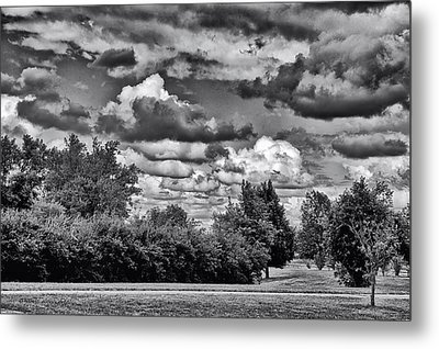 A July Cold Front Rolling By Bw Metal Print by Thomas Woolworth