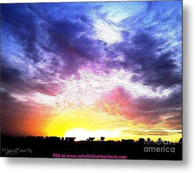 A Kansas Sunrise With The Cows Metal Print by PainterArtist FIN