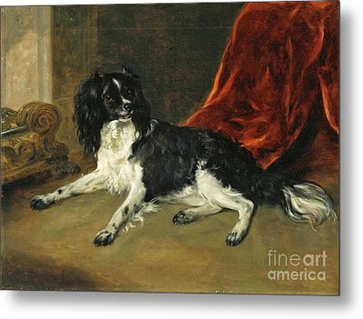 A King Charles Spaniel By A Fireplace Metal Print by Richard Ramsay Reinagle