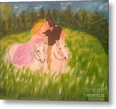 Metal Print featuring the painting A Kiss - On Horseback by Brindha Naveen