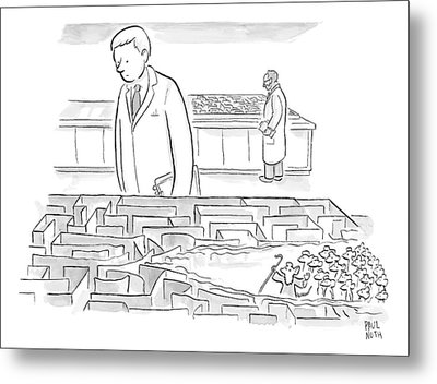 A Laboratory Scientist Looks On As The Walls Metal Print by Paul Noth