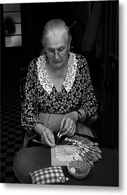 A Lacemaker In Bruges Metal Print by RicardMN Photography