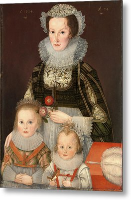 A Lady And Her Two Children Dated In Gold Paint Metal Print by Litz Collection
