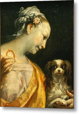 A Lady With A Dog Metal Print by Giuseppe Maria Crespi