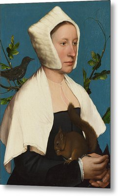 A Lady With A Squirrel And A Starling Metal Print by Hans Holbein the Younger