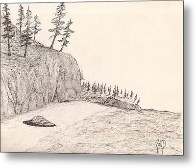 A Lakeshore... Sketch Metal Print by Robert Meszaros