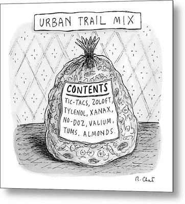 A Large Bag Is Centered In This Picture Metal Print by Roz Chast