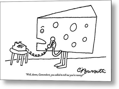 A Large Piece Of Swiss Cheese Talks Metal Print