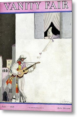 A Latin Man Serenading A Woman Metal Print by Georges Lepape