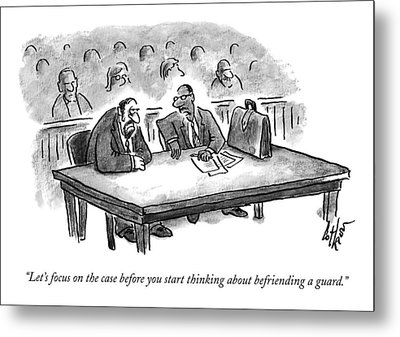 A Lawyer Speaks To His Client In Court Metal Print by Frank Cotham